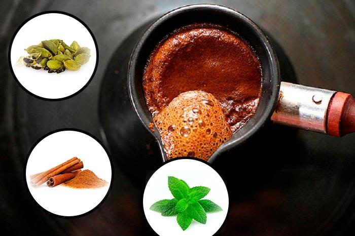 кофе с мятой корицей и кардамоном